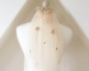 Autumn fall cathedral, chapel or fingertip length applique fine tulle veil