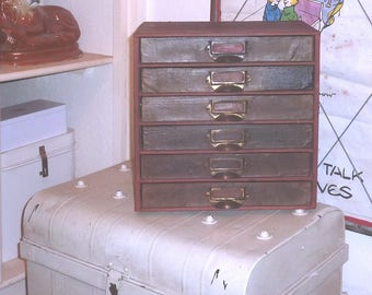 ANTIQUE 1930s STATIONERY DRAWERS..Vintage Cabinet..home Office..6 Old
