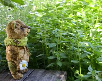 """Artist teddy bear of """"Warmly summer garden"""". Art toys in seasons style. OOAK"""