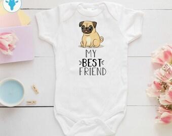 58c70db68 My Best Friend Pug Bodysuit, Cute Dog Bodysuit, Baby Girl Gift, Baby Boy  Clothes, Pug Baby Shower Gift