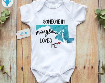 5a1b4e5e7 Someone In Maryland Loves Me Baby Bodysuit, Maryland Baby Clothes, Aunt  Uncle Gift, Personalized Baby Clothes, Custom Baby Shower Onesie