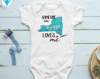 089e85d00 Someone In New York Loves Me Bodysuit, Personalized Gift Bodysuit, Boho  Baby Girl Clothes, Baby Boy Gift, New York Bodysuit