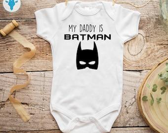 f44779573 My Daddy Is Batman Bodysuit, Dark Knight Bodysuit, DC Baby Clothes, Baby  Girl Bodysuit, Baby Boy Clothes, Baby Shower Gift
