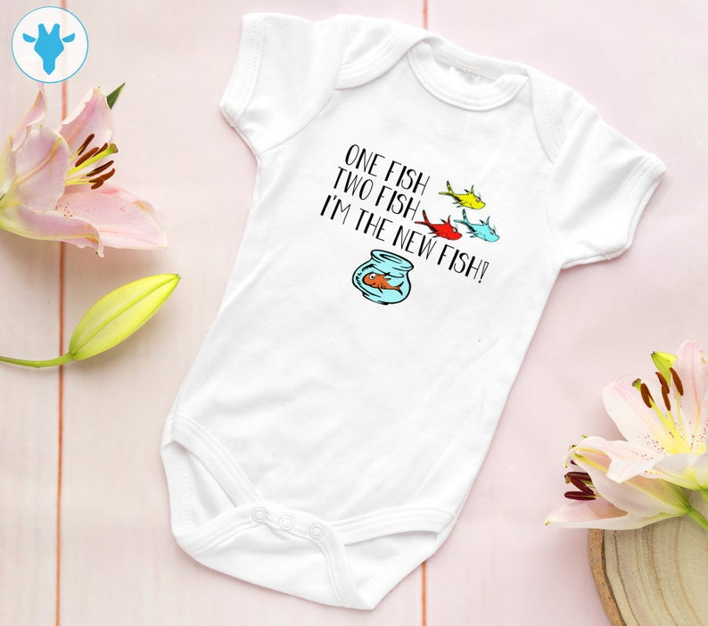 One Fish Two Fish I M The New Fish Bodysuit Baby Boy Etsy