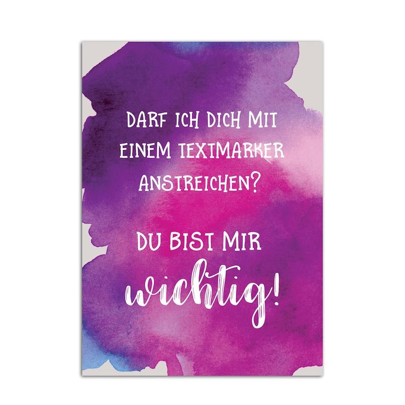 Postkarte Du bist mir wichtig Textmarker | Etsy