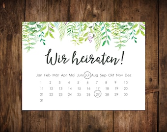 "Save the date cards ""Green wedding Calendar"" 50 maps"