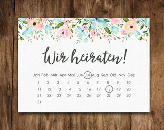 "Save the date cards ""White wedding Calendar"" 50 maps"