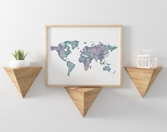 Poster world map DIN A3, world map watercolor poster