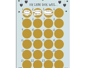 Advent calendar for scratching I LOVE YOU Advent Calendar A3 Christmas Calendar