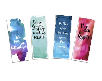 Bookmark Set, 4 Bookmarks Watercolor, Gift Girlfriend, Gift Woman, Bookmark Paper, Bookmark Quotes, Bookmark Sayings