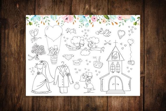 Hochzeit Platzset Zum Ausmalen 10 Stuck Etsy