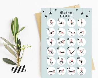 "Postcard Fitness ""Make fit with stay!"", Postcards Motivation, Sports, Advent Calendar Postcard"