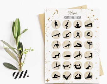Postcard Advent Calendar YOGA HELL Christmas Calendar Postcard A6 Yoga Gift