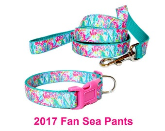 FAN SEA Pants | Lilly Pulitzer-inspired Dog Collar and/or Leash on Teal | Flower Option | Sizes S to XL