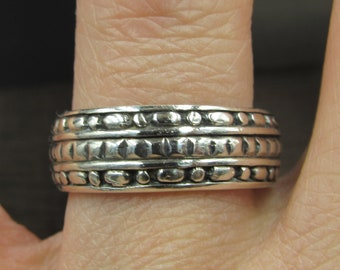Size 10 Sterling Silver Thick Unique Design Band Ring Vintage Statement Engagement Wedding Promise Anniversary Cocktail Friendship