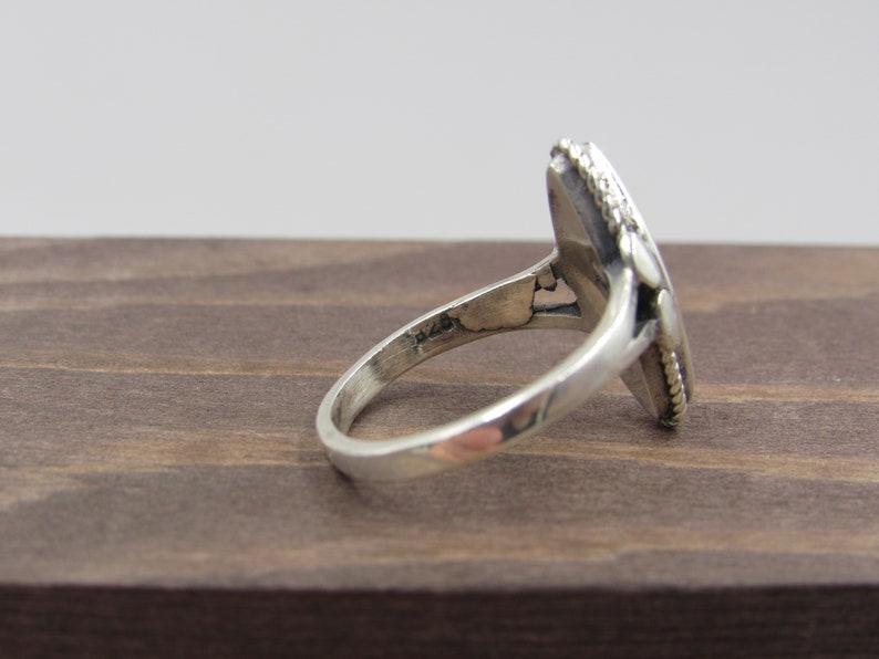 Size 6.25 Sterling Silver Blue Inlay Band Ring Vintage Luxury Beautiful Stunning Statement Gift Classic Cute Special Cool