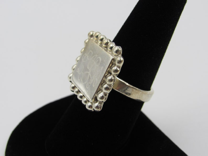 Vintage Size 8 Sterling Silver Rustic Initials Square Band Ring Cute Elegant Statement Everyday Gift Idea Stunning Minimalist Beautiful Cool