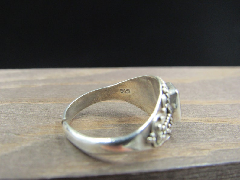 Size 6 Sterling Silver Tarnished Citrine Cut Band Ring Vintage Statement Engagement Wedding Promise Anniversary Cocktail Friendship
