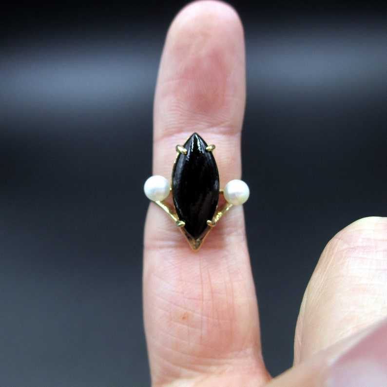 Vintage Estate Size 6 10k Solid Yellow Gold Onyx /& Pearls Band Ring Wedding Engagement Anniversary Antique Promise Unique Bohemian Cute