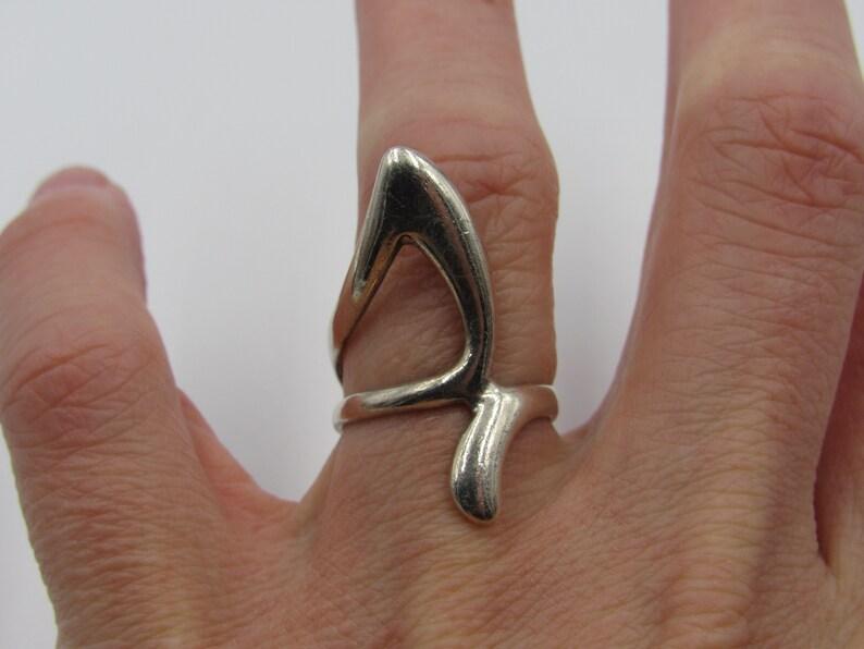 Size 6.5 Sterling Silver Odd Finger Band Ring Vintage Statement Engagement Wedding Promise Anniversary Bridal Cocktail Friendship