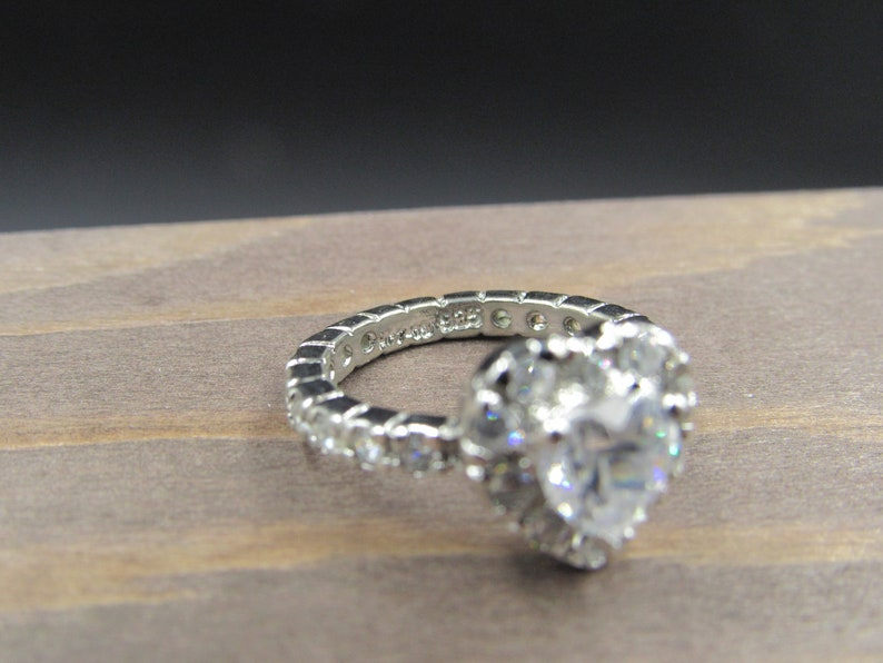 Size 5.25 Sterling Silver Cubic Zirconia Stone Heart Band Ring Vintage Statement Engagement Wedding Promise Anniversary Bridal Cool
