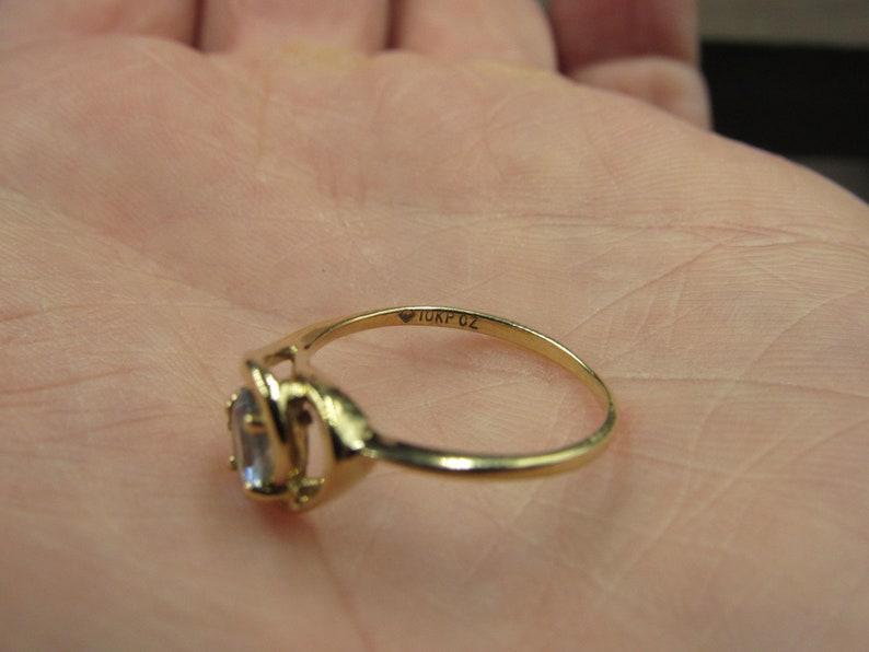 Size 5.5 10K Gold Blue Topaz Gem With CZ Accent Band Ring Vintage Estate Wedding Engagement Anniversary Gift Idea Beautiful Elegant Unique