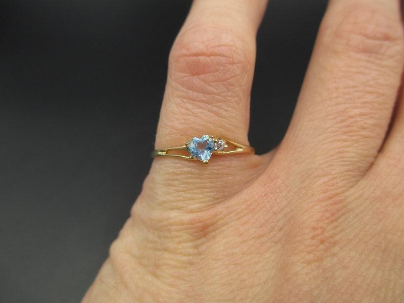 Vintage Estate Size 7 10k Solid Yellow Gold Blue Topaz /& CZ Diamond Band Ring Wedding Engagement Anniversary Antique Promise Unique Cute
