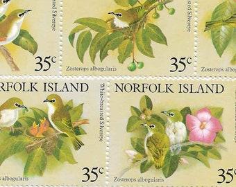 Set of 5 Norfolk Island Vintage Postage Stamps Birds 1981 (Mint). For collectors, cards and mail-art, scrapbooks, collage, journals