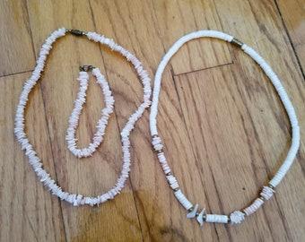 Shell necklace and bracelet