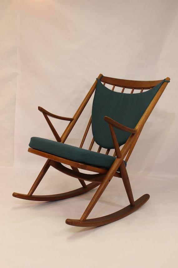 Dondolo In Teak.Vintage Teak 1950 Frank Reenskaug Rocking Chair
