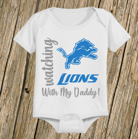 Detroit Lions I Love Watching With Daddy Baby Short Sleeve Bodysuit