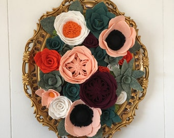 Vertical garden, hanging garden, wall decor, home decor, wall hanging, felt flowers, felt flower decor,