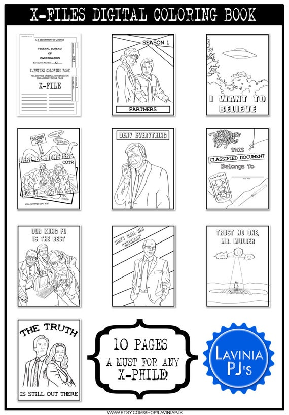 Printable X Files Digital Adult Coloring Book An Phile