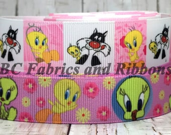 """7/8""""- 1"""" Tweety Bird Sylvester Cat Inspired Cartoon Characters Movie TV Animal Stripes Dots Grosgrain Hair Bow Ribbon - Sold by 5 yards"""