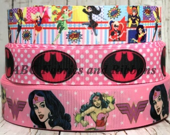 """7/8""""- 1"""" Super Heroes Woman Girl Bat Cat Person TV Cartoon Character Comic Movie Check Pink Black Grosgrain Hair Bow Ribbon- Sold by 5 Yards"""