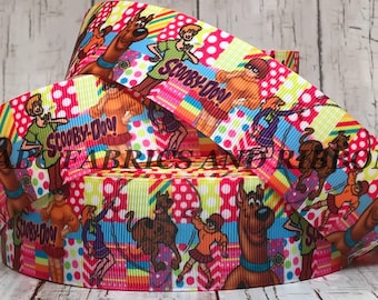22mm Scooby Doo Dog white Cats Grosgrain Ribbon Great Dane Cake Craft Hair Bow