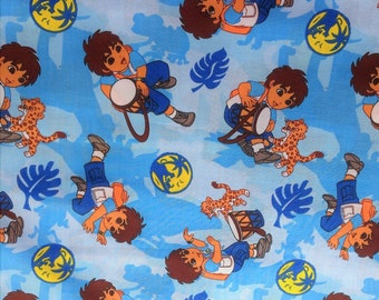 DEIGO TV Movie Cartoon Comic Liscensed Novelty Childrens Boys Kids Girls Baby Blue Cotton Fabric