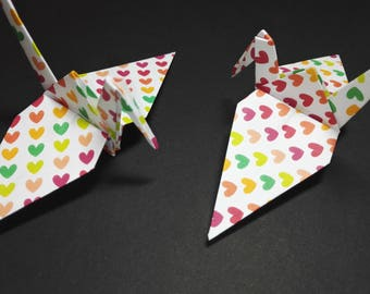 20 Origami Crane with Bright Colors Love Hearts, Wedding Favour, Baby Shower, Decoration, Bird
