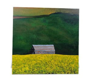 Barn in Canola Fields - Acrylic Landscape Painting 20x20 inch Square Canvas, Barn Painting, Yellow Painting, Green Painting, Wall Art Decor