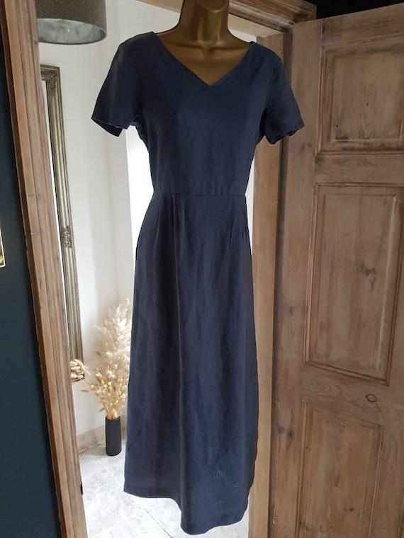 Blue Laura Ashley Linen Prarie Dress UK 12