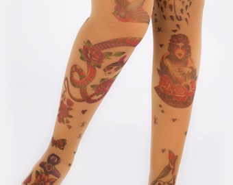 Traditional Tattoo Printed Pantyhose