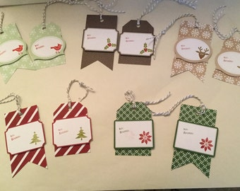 Set of 10 handmade and handstamped Christmas Tags
