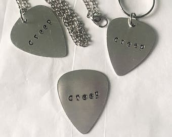 Creep Guitar Pick • Radiohead Guitar Pick • Stamped Guitar Pick • Radiohead Necklace • Radiohead Keychain • Guitar Pick Necklace