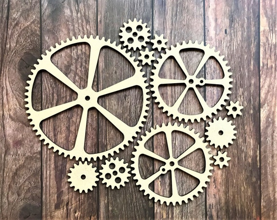 Wooden Gears Cogs Gear Shapes Decorative Gear Craft Industrial Decor DS