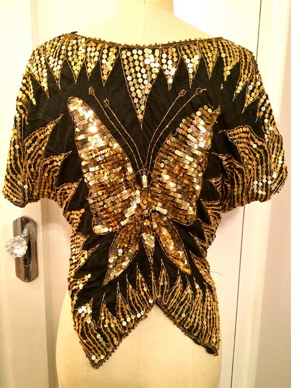 1980's Beaded BUTTERFLY Blouse - image 2