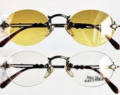 ccdeb0c259f JEAN PAUL GAULTIER vintage Sunglasses Jpg rare oval clear yellow lens  steampunk 55-4172 Tupac