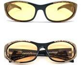 VERSACE vintage sunglasses rare oval trimming real leather python snake skin 435 P Gianni Migos Biggie 2Chainz Rihanna Lady Gaga new NOS 90s