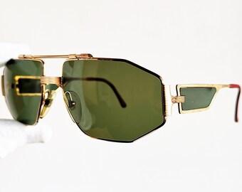 c20933da0e CHRISTIAN DIOR Monsieur 2427 vintage sunglasses rare square aviator gold  mask wrap made in Austria frame oversize shield carved 90s 4 lenses
