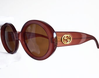 cb53b0ed5fc GUCCI vintage SUNGLASSES rare iridescent red burgundy oversize big mask  made in Italy gold GG2410 S oval round frame diva 90s like new NOS