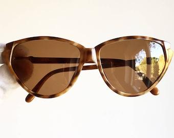 CHRISTIAN DIOR vintage Sunglasses oval rare round cat eye 2353 rockabilly diva brown tortoise angular new NOS